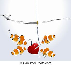 Valentine's Day Concept, group of clownfish looking at fishhooks prick red hearts.