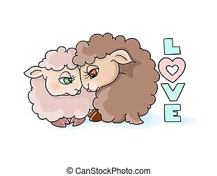 vector illustration valentines day many cute lambls with a ball of wool love