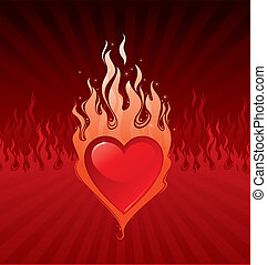Vector illustration - Valentines Flaring heart