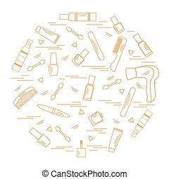 Vector illustration various accessories for the care of your body arranged in a circle: hairdryer, comb, cream, nail polish and other.