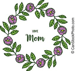 Vector illustration various ornate of purple rose flower frame with lettering i love you mom