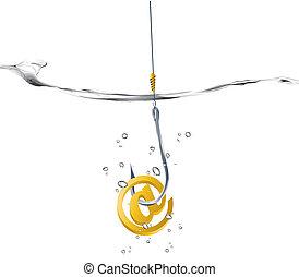 Vector illustration - on-line fraud concept, hook holding...