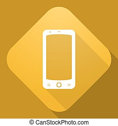 Vector icon of Smart Phone with a long shadow