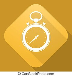 Vector icon of stop watch with a long shadow