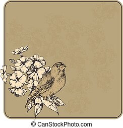 Vector illustration. Vintage background with flowers and birds, hand-drawing.