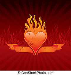 Vector illustration - Vintage flaming heart and ribbons