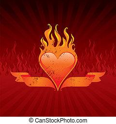 Vector illustration - Vintage flaming heart and ribbons