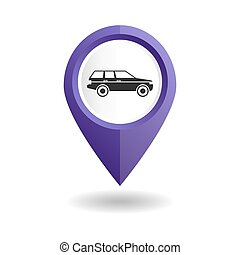 Violet map pointer with a car icon