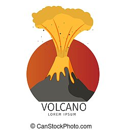 Vector Illustration Volcanic Spewing fish Icons. Banner...