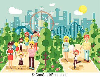 Vector illustration walk stroll promenade of parents with children, child s day, entertainment and leisure in amusement park outdoor, roller coaster switchback background, cityscape flat style