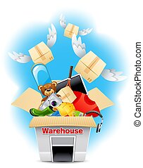 warehouse - Vector illustration - warehouse packing and...