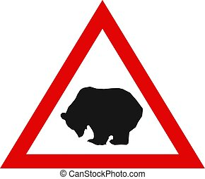 Warning Sign with Silhouette of Bear.