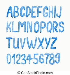 Vector illustration. Watercolor or aquarelle blue font.