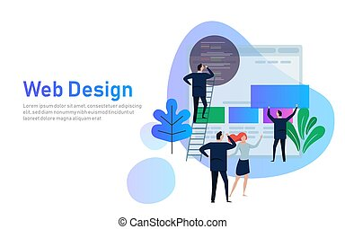 Vector illustration. Web design creative teamwork. People...