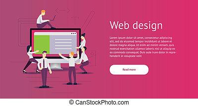 vector illustration - web site development. Monitor, computer on background