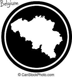 vector illustration white map of belgium on black circle, ...