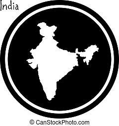 vector illustration white map of India on black circle, isolated on white background