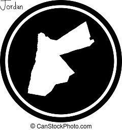 vector illustration white map of Jordan on black circle,...