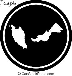 vector illustration white map of Malaysia on black circle,...
