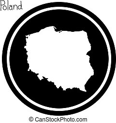 vector illustration white map of Poland on black circle,...