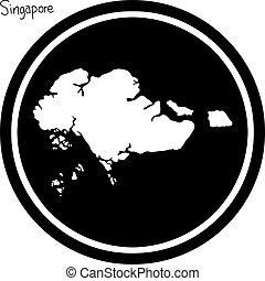 vector illustration white map of Singapore on black circle, isolated on white background