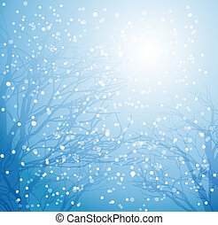 Winter tree and snow - Vector illustration Winter tree and...