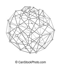 Vector illustration wireframe connecting sphere with dots and circles. Globe structure connection. Global network