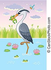 Vector illustration with a bird in cartoon style. Cute heron...