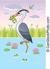 Vector illustration with a bird in cartoon style. Cute heron...