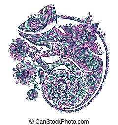 Vector illustration with a chameleon and beautiful patterns