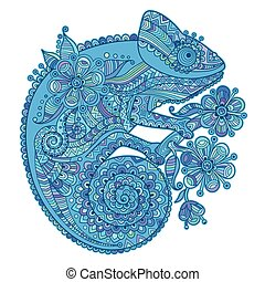 Vector illustration with a chameleon and beautiful patterns in shades of blue