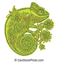 Vector illustration with a chameleon and beautiful patterns in shades of green