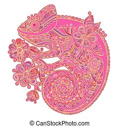 Vector illustration with a chameleon and beautiful patterns in shades of pink
