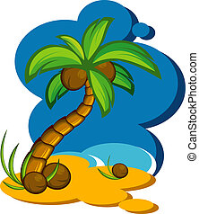 Vector illustration with a coconut palm. Eps 8, AI, JPEG