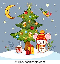 Vector illustration with a cute little mouse who sits under the Christmas tree