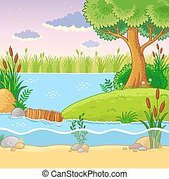Vector illustration with a dam of beavers.