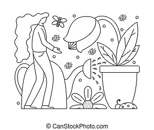 Vector illustration with a flat girl taking care of plants. Gardening in the lines.
