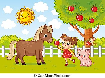 Vector illustration with a girl who gives a horse an apple.