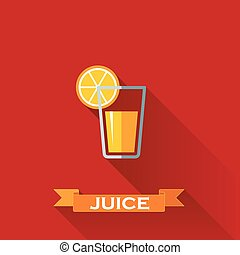 vector illustration with a glass of juice in flat design style