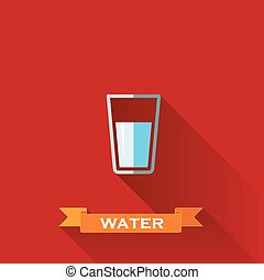 vector illustration with a glass of water in flat design style