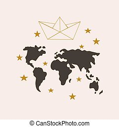 Vector illustration with a paper boat and world map