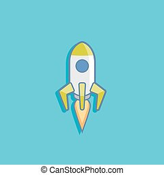 vector illustration with a rocket in flat style design