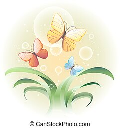 Vector illustration with a sprouts and butterflies - Vector...