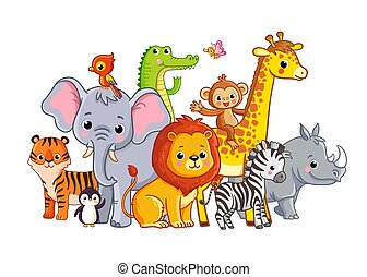 Vector illustration with african animals on a white background. Cute animals in cartoon style