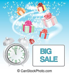 Vector illustration  with an a box gifts, alarm clock, card big sale