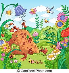 Vector illustration with an anthill and insects.