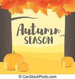 Vector Illustration with Autumn landscape