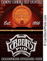 bar counter and cask of beer - vector illustration with bar...