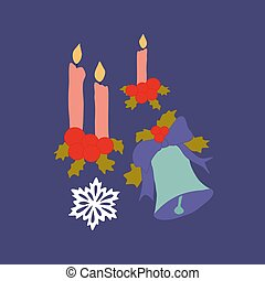 Vector illustration with bells and candles