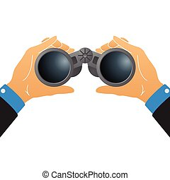 Vector illustration with binoculars in human hands isolated on white